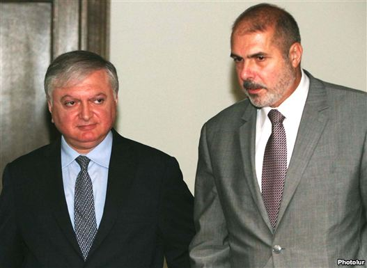 Armenia - Foreign Minister Edward Nalbandian (L) meets with Philippe Lefort, a EU's new special deputy for a South Caucasus, 7Sept2011.