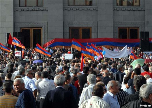 Armenia - The antithesis Armenian National Congress binds a convene in Yerevan's Liberty Square.