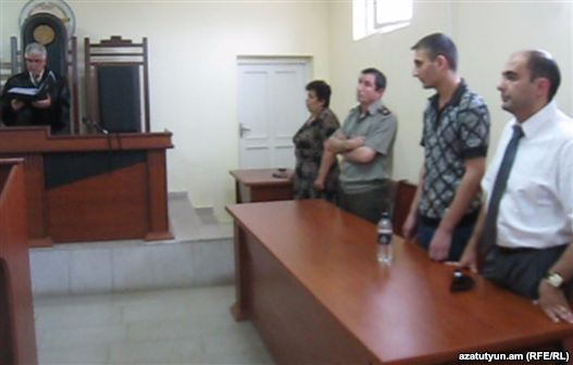Nagorno-Karabakh - Manvel Hazroyan (second from right) is condemned to life in jail for murdering 4 associate soldiers and wounding 3 others in Nov 2010, 03Aug2011.
