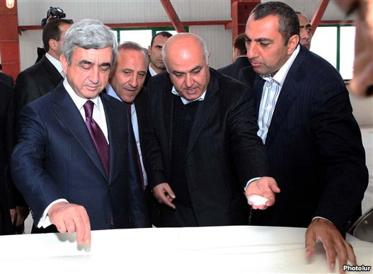 Armenia - President Serzh Sarkisian (L) visits a new sugarine refinery built by businessman Samvel Aleksanian (R).